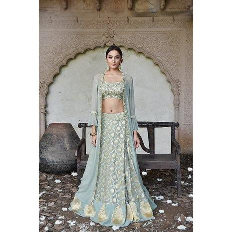 Green benarasi lehenga with jacket Chhavvi Aggarwal