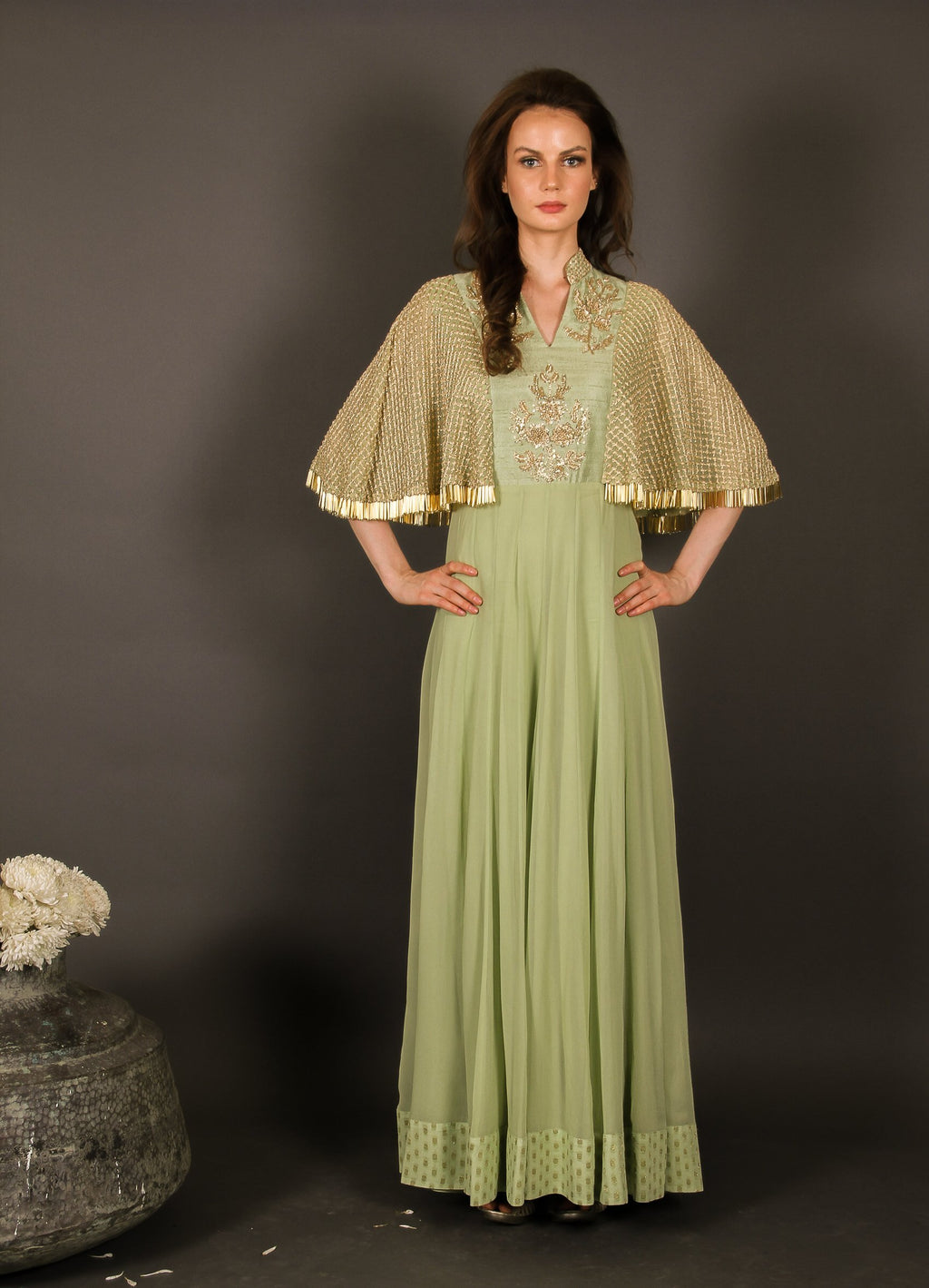 Green cape sleeve Anarkali Chhavvi Aggarwal