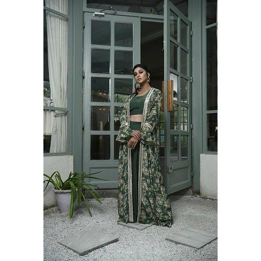 Green crop top with pants and green printed cape jacket. Chhavvi Aggarwal