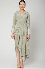 Load image into Gallery viewer, Green draped dress Chhavvi Aggarwal