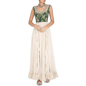 Green printed and cream frill  gown Chhavvi Aggarwal