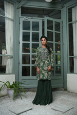Load image into Gallery viewer, Green printed kurta with gharara Chhavvi Aggarwal