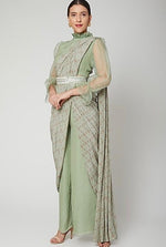 Load image into Gallery viewer, Green printed pant saree Chhavvi Aggarwal