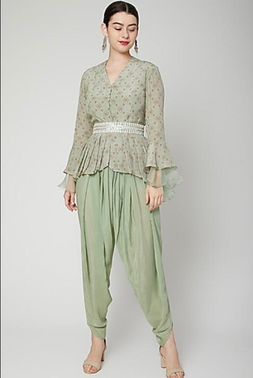 Green printed top with dhoti pants Chhavvi Aggarwal