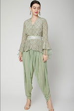 Load image into Gallery viewer, Green printed top with dhoti pants Chhavvi Aggarwal