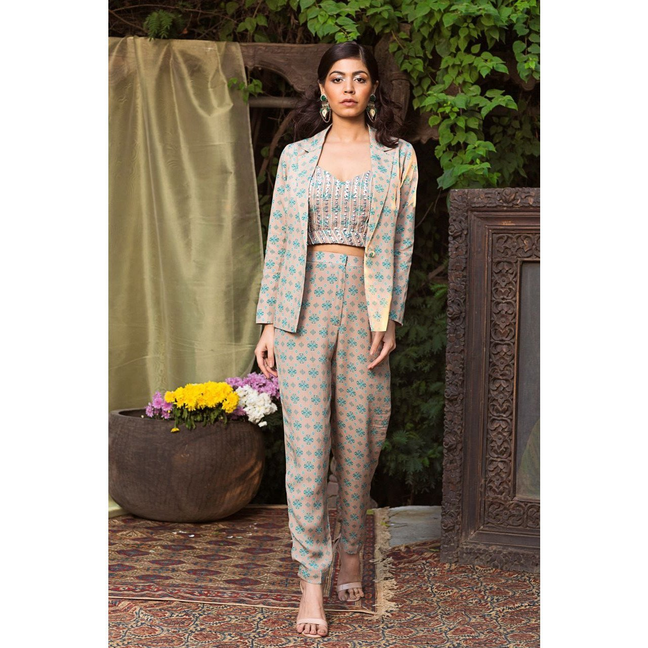 Grey and teal printed pant suit Chhavvi Aggarwal