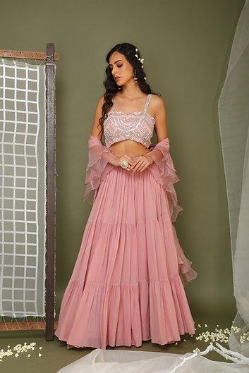 Lavender lehenga with embroidered blouse and frill dupatta Chhavvi Aggarwal