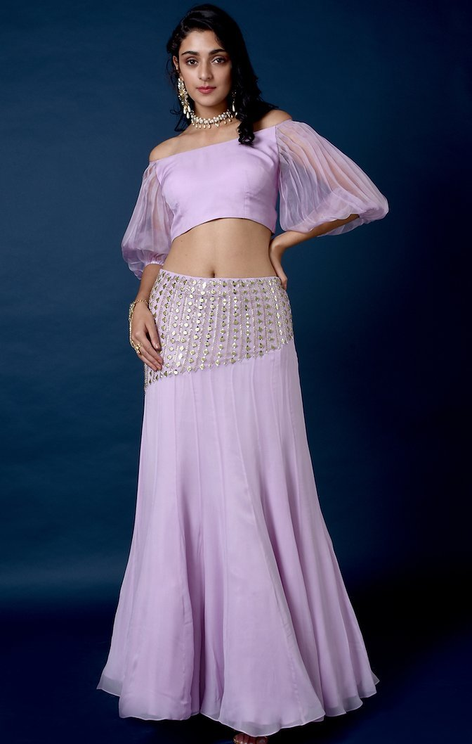 Lavender organza top and mirror work skirt Chhavvi Aggarwal