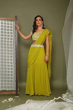 Load image into Gallery viewer, Lime green stitched saree Chhavvi Aggarwal