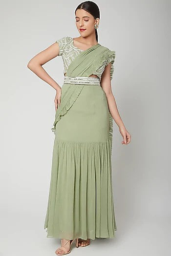Mint green pleated saree with belt Chhavvi Aggarwal