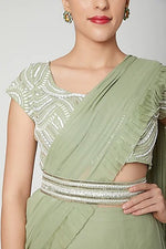 Load image into Gallery viewer, Mint green pleated saree with belt Chhavvi Aggarwal