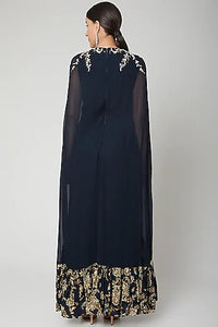 Navy blue Jumpsuit with cape Chhavvi Aggarwal