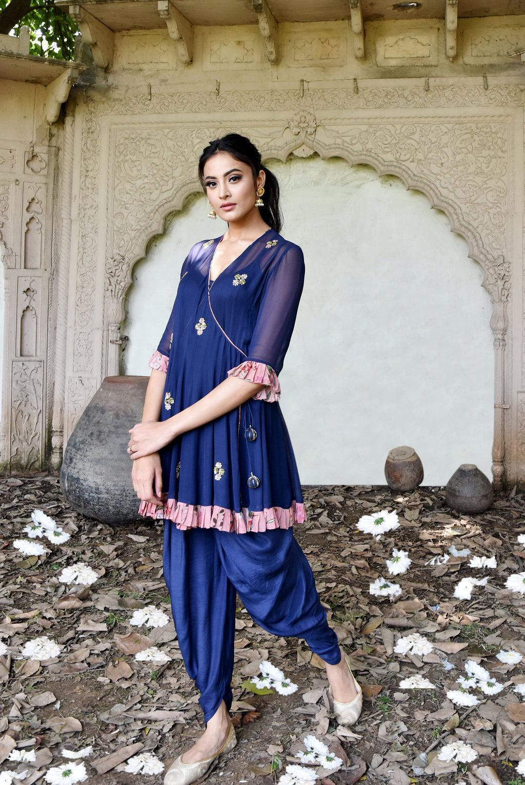 Navy blue short anarkali with dhoti pants Chhavvi Aggarwal