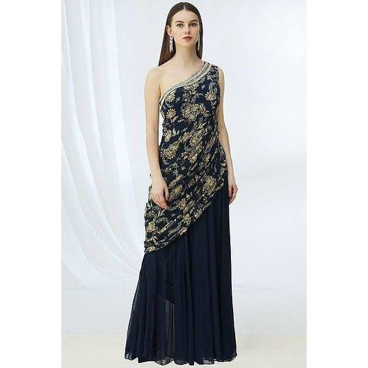 Navy printed one shoulder gown Chhavvi Aggarwal