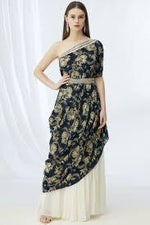 Load image into Gallery viewer, Navy printed top with cream palazzo pants & embroidered belt. Chhavvi Aggarwal