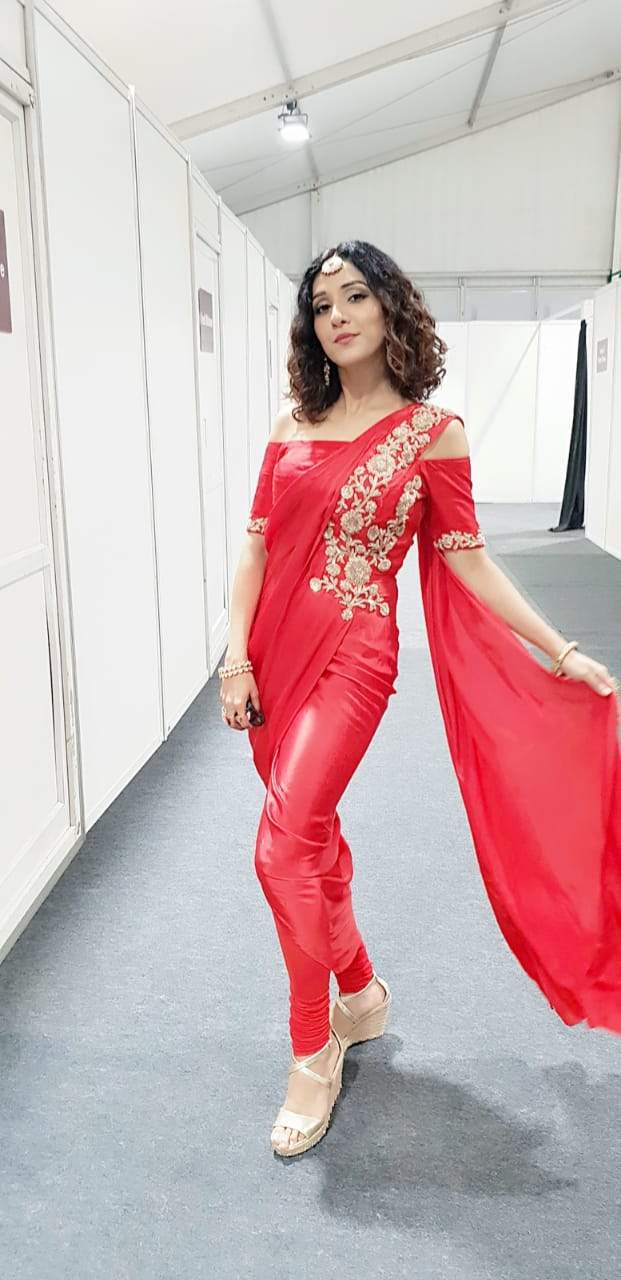 Neeti mohan spotted in our signature draped saree and churidaar set Chhavvi Aggarwal