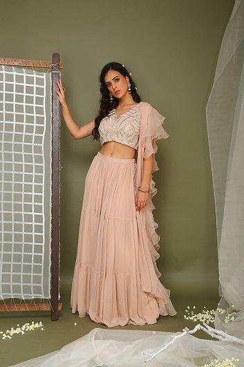 Nude pink lehenga and embroidered blouse Chhavvi Aggarwal