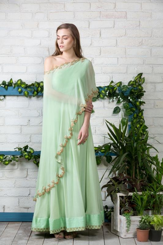 One off shoulder cape suit Chhavvi Aggarwal