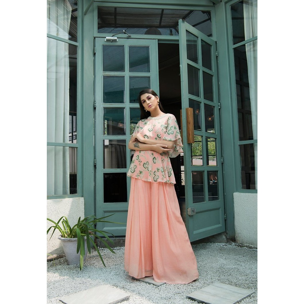 Peach peplum top with pants Chhavvi Aggarwal