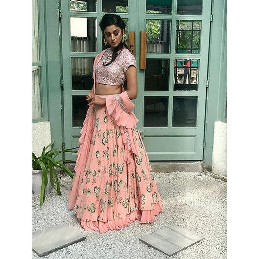 Peach printed lehenga with embroidered blouse and frill dupatta Chhavvi Aggarwal