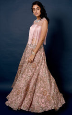 Load image into Gallery viewer, Pink Vine Printed skirt with fringe detail top Chhavvi Aggarwal