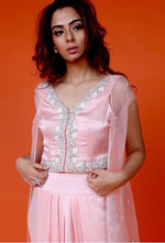 Load image into Gallery viewer, Pink crop jacket,dhoti and cape Chhavvi Aggarwal