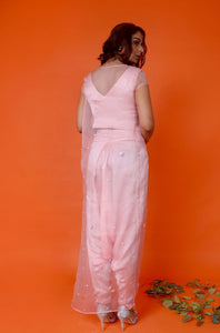 Pink crop jacket,dhoti and cape Chhavvi Aggarwal