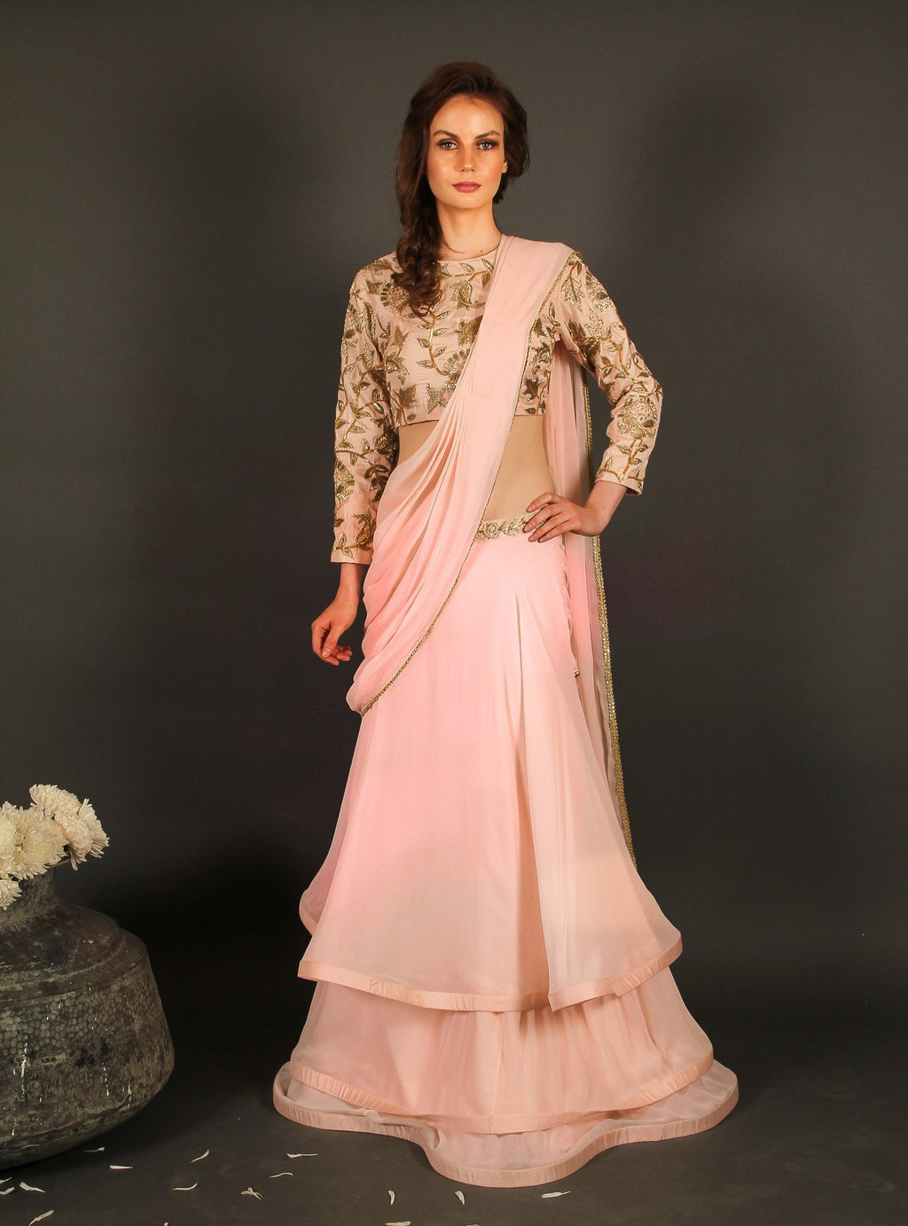 Pink layered lehenga with draped dupatta Chhavvi Aggarwal
