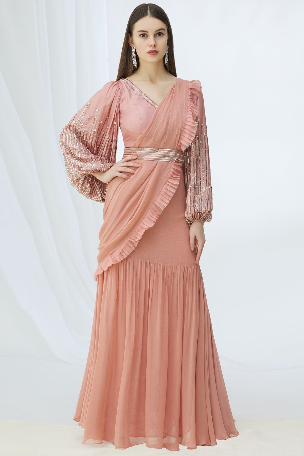 Pink pre draped saree, embroidered blouse & belt Chhavvi Aggarwal