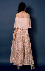 Load image into Gallery viewer, Pink vine printed cold shoulder anarkali Chhavvi Aggarwal