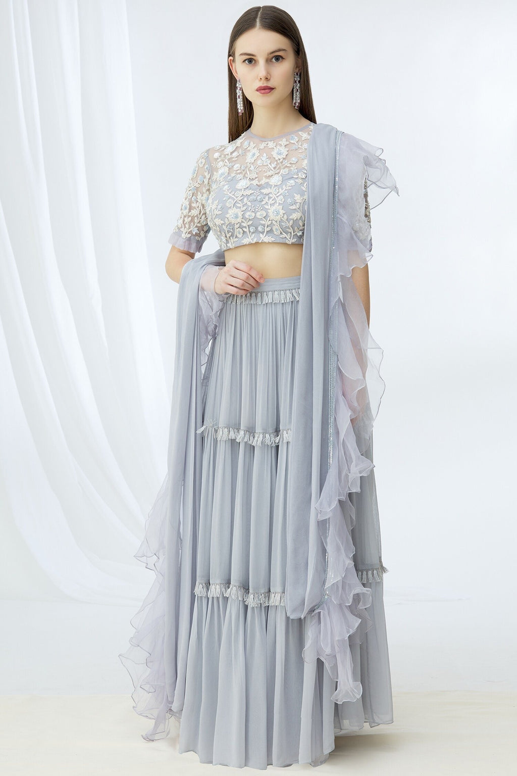 Powder Blue lehenga set Chhavvi Aggarwal