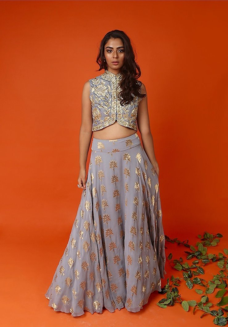 Powder grey jacket blouse with benarasi skirt Chhavvi Aggarwal