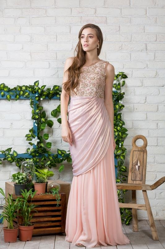 Powder pink One shoulder draped gown Chhavvi Aggarwal
