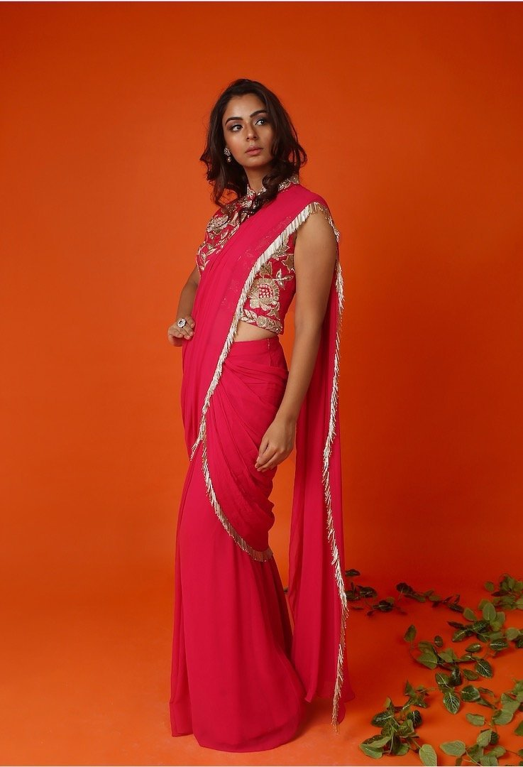 Rani Pink stitched saree with jacket blouse Chhavvi Aggarwal