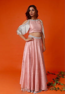 Rose pink cold shoulder blouse with Lehenga skirt Chhavvi Aggarwal