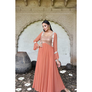 Rust anarkali with jacket Chhavvi Aggarwal