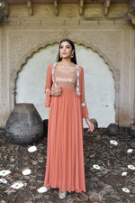 Load image into Gallery viewer, Rust anarkali with jacket Chhavvi Aggarwal