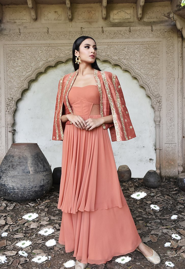 Rust layered anarkali with silk embroidered cape jacket Chhavvi Aggarwal