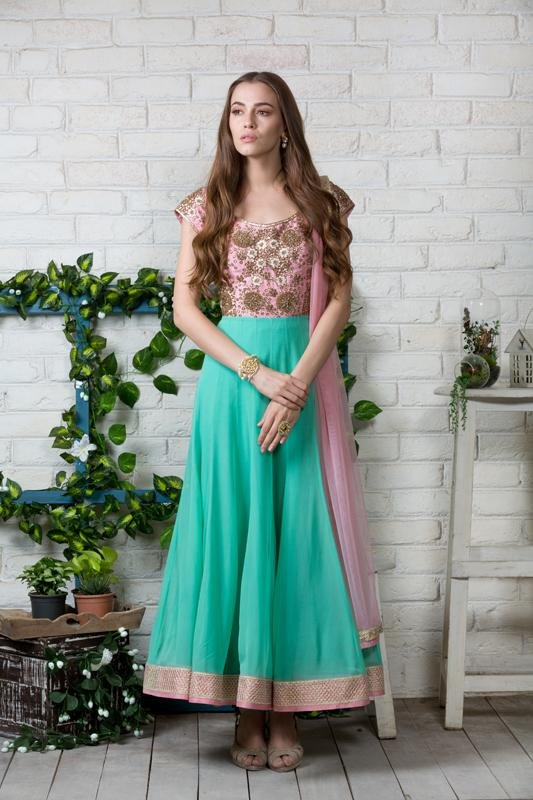 Sea green and pink Anarkali Chhavvi Aggarwal