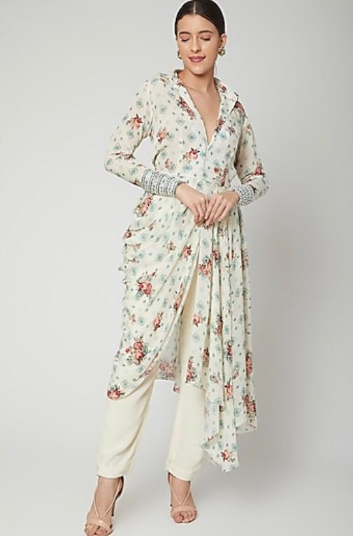 White floral printed draped shirt dress with pants Chhavvi Aggarwal