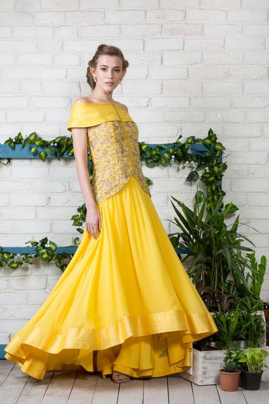 Yellow Off shoulder Jacket Anarkali Chhavvi Aggarwal