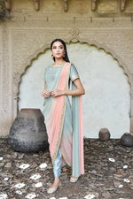 Load image into Gallery viewer, peach and green draped saree Chhavvi Aggarwal