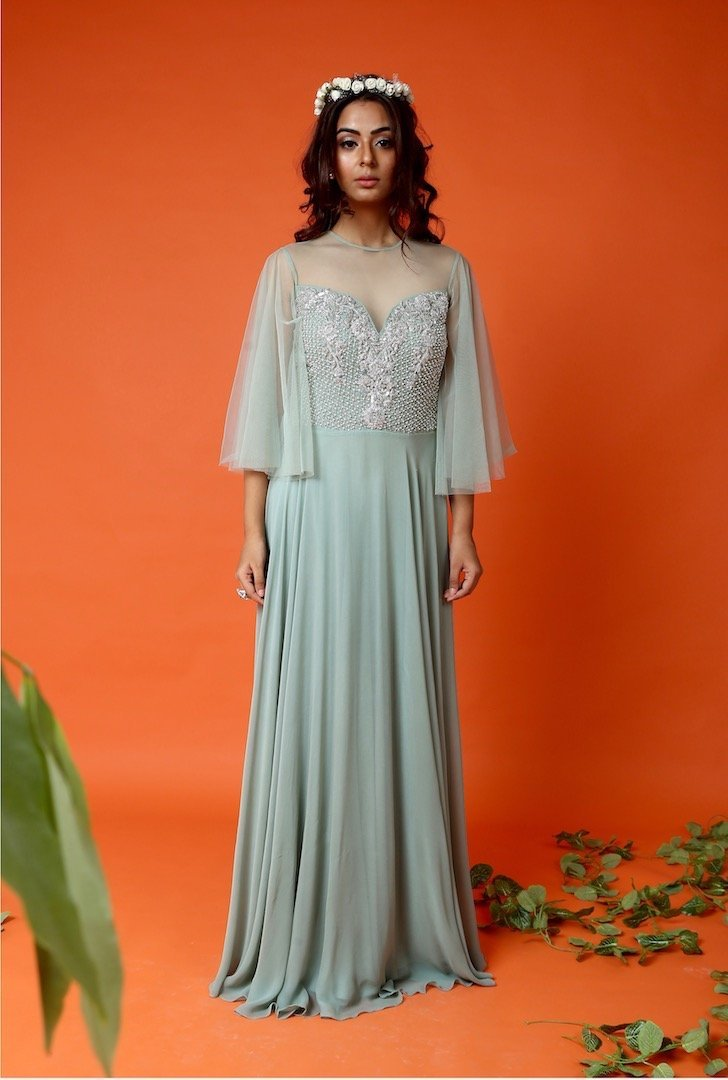 sage green gown Chhavvi Aggarwal