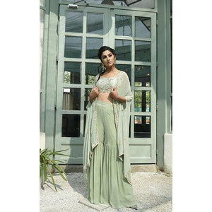 sage green sharara with blouse and cape Chhavvi Aggarwal