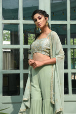 Load image into Gallery viewer, sage green sharara with blouse and cape Chhavvi Aggarwal