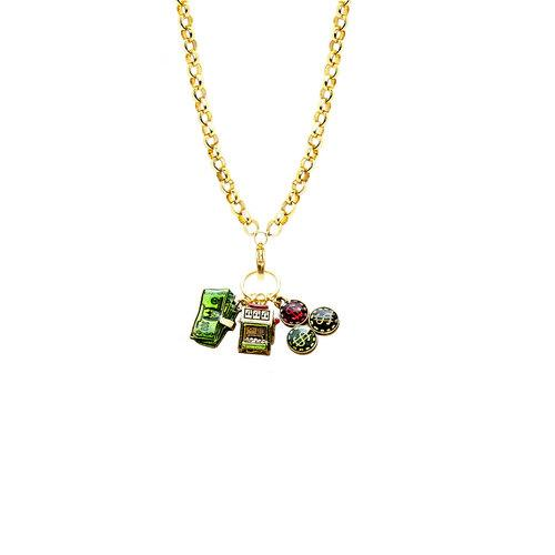 Casino Charm Necklace in Gold