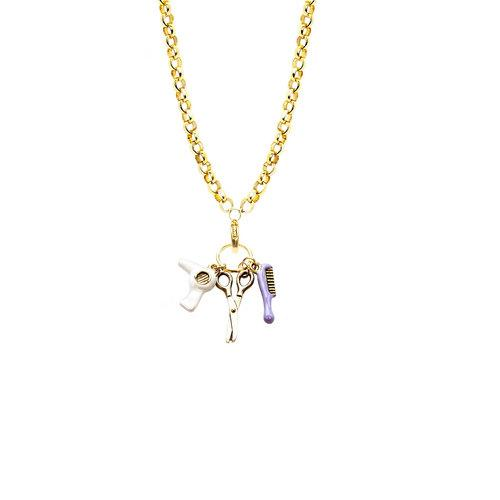 Beautician Charm Necklace in Gold