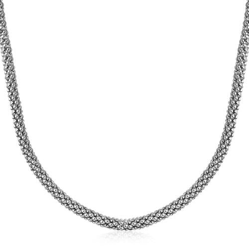 Sterling Silver Rhodium Plated Popcorn Style Necklace, size 18''