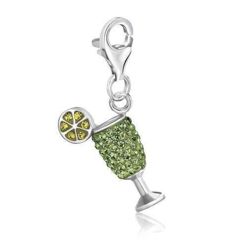 Sterling Silver Cocktail Glass Green Tone Crystal Encrusted Charm