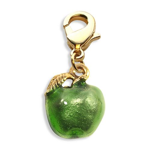 Green Apple Charm Dangle in Gold